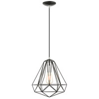 Livex 41324-68 Geometric 1 Light 12 inch Shiny Black Pendant Ceiling Light