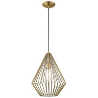 Livex 41325-01 Signature 1 Light 12 inch Antique Brass Mini Pendant Ceiling Light