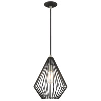 Livex 41325-04 Signature 1 Light 12 inch Black Mini Pendant Ceiling Light