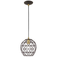 Livex 41326-07 Signature 1 Light 8 inch Bronze Mini Pendant Ceiling Light