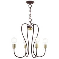 Livex 41364-07 Lucerne 4 Light 20 inch Bronze with Antique Brass Accents Chandelier Ceiling Light