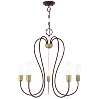 Livex 41365-07 Lucerne 5 Light 24 inch Bronze with Antique Brass Accents Chandelier Ceiling Light