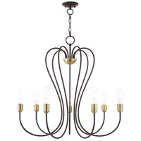 Livex 41367-07 Lucerne 7 Light 30 inch Bronze with Antique Brass Accents Chandelier Ceiling Light