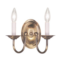 Livex 4152-01 Home Basics 2 Light 10 inch Antique Brass Wall Sconce Wall Light