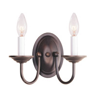 Home Basics 2 Light 10 inch Bronze Wall Sconce Wall Light