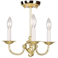 Livex Lighting Home Basics 3 Light Mini Chandelier in Polished Brass 4153-02