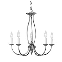 Home Basics 5 Light 23 inch Brushed Nickel Chandelier Ceiling Light