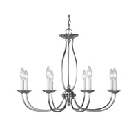 Home Basics 8 Light 28 inch Brushed Nickel Chandelier Ceiling Light