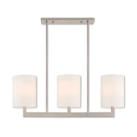 Livex 42404-91 Hayworth 3 Light 36 inch Brushed Nickel Linear Chandelier Ceiling Light