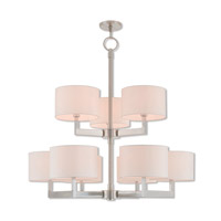 Livex 42409-91 Hayworth 9 Light 42 inch Brushed Nickel Foyer Chandelier Ceiling Light