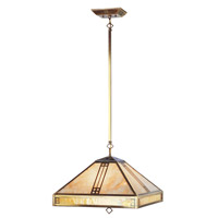 Mission Tiffany 4 Light 18 inch Flemish Brass Chandelier Ceiling Light