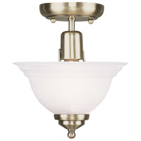 Livex 4250-01 North Port 1 Light 8 inch Antique Brass Ceiling Mount Ceiling Light in White Alabaster