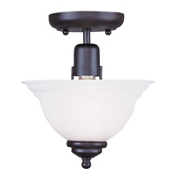 Livex 4250-04 North Port 1 Light 8 inch Black Ceiling Mount Ceiling Light in White Alabaster photo thumbnail