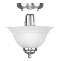 Livex 4250-91 North Port 1 Light 8 inch Brushed Nickel Ceiling Mount Ceiling Light in White Alabaster photo thumbnail