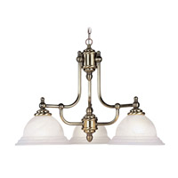 North Port 3 Light 24 inch Antique Brass Chandelier Ceiling Light in White Alabaster