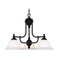 Livex 4253-04 North Port 3 Light 24 inch Black Chandelier Ceiling Light in White Alabaster
