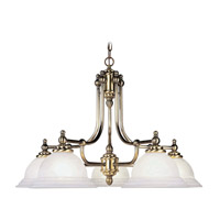 North Port 5 Light 28 inch Antique Brass Chandelier Ceiling Light in White Alabaster