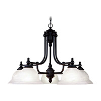 Livex 4255-04 North Port 5 Light 28 inch Black Chandelier Ceiling Light in White Alabaster