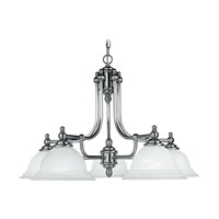 North Port 5 Light 28 inch Brushed Nickel Chandelier Ceiling Light in White Alabaster