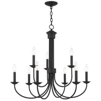 Livex 42687-04 Estate 9 Light 30 inch Black Chandelier Ceiling Light