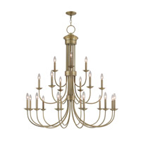 Livex 42688-01 Estate 21 Light 42 inch Antique Brass Foyer Chandelier Ceiling Light