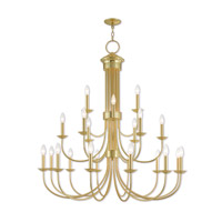 Livex 42688-02 Estate 21 Light 42 inch Polished Brass Foyer Chandelier Ceiling Light