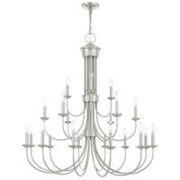 Livex 42688-91 Estate 21 Light 42 inch Brushed Nickel Chandelier Ceiling Light