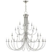 Livex 42689-91 Estate 38 Light 72 inch Brushed Nickel Chandelier Ceiling Light