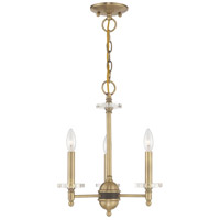 Livex 42703-01 Bancroft 3 Light 14 inch Antique Brass Mini Chandelier Ceiling Light