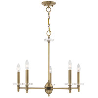 Livex 42705-01 Bancroft 5 Light 25 inch Antique Brass Chandelier Ceiling Light