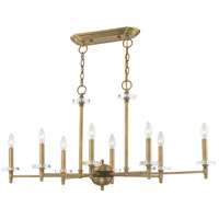 Livex 42708-01 Bancroft 8 Light 40 inch Antique Brass Linear Chandelier Ceiling Light