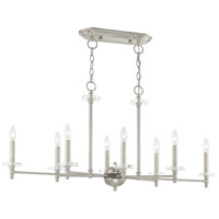 Livex 42708-91 Bancroft 8 Light 40 inch Brushed Nickel Linear Chandelier Ceiling Light