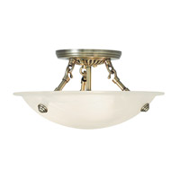 Livex Oasis 3 Light Flush Mount in Antique Brass 4272-01