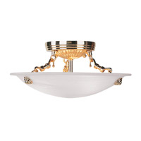 Livex 4272-02 Oasis 3 Light 12 inch Polished Brass Ceiling Mount Ceiling Light