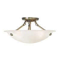 Oasis 3 Light 16 inch Antique Brass Flush Mount Ceiling Light in White Alabaster