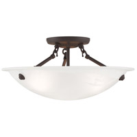Livex 4273-07 Home Basics 3 Light 16 inch Bronze Ceiling Mount Ceiling Light in White Alabaster alternative photo thumbnail