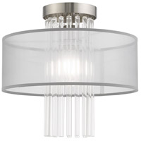 Livex 42802-91 Alexis 1 Light 13 inch Brushed Nickel Flush Mount Ceiling Light