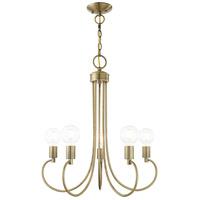Livex 42925-01 Bari 5 Light 25 inch Antique Brass Chandelier Ceiling Light