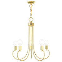 Livex 42925-02 Bari 5 Light 25 inch Polished Brass Chandelier Ceiling Light