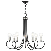 Livex Lighting 42927-04 Bari 7 Light 30 inch Black with Brushed Nickel Accents Chandelier Ceiling Light