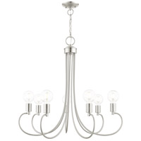 Livex 42927-91 Bari 7 Light 30 inch Brushed Nickel Chandelier Ceiling Light