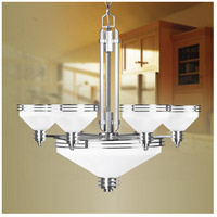 Livex 4356-91 Matrix 9 Light 28 inch Brushed Nickel Chandelier Ceiling Light in Satin White photo thumbnail