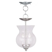 Livex Lighting 4392-35 Legacy 2 Light 8 inch Polished Nickel Convertible Chain Hang/Ceiling Mount Ceiling Light