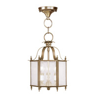 Livex Lighting Livingston 3 Light Pendant/Ceiling Mount in Antique Brass 4397-01