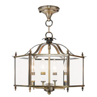 Livex 4398-01 Livingston 4 Light 16 inch Antique Brass Convertible Chain Hang Ceiling Light