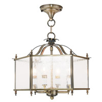 Livingston 4 Light 16 inch Antique Brass Convertible Chain Hang Ceiling Light in Seeded
