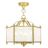 Livingston 4 Light 16 inch Polished Brass Convertible Chain Hang Ceiling Light in Seeded