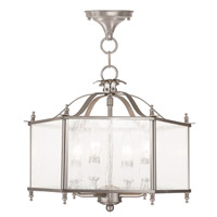 Livingston 4 Light 16 inch Brushed Nickel Convertible Chain Hang Ceiling Light in Seeded
