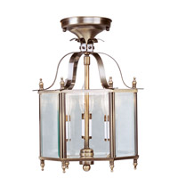 Livex 4403-01 Home Basics 3 Light 10 inch Antique Brass Pendant/Ceiling Mount Ceiling Light