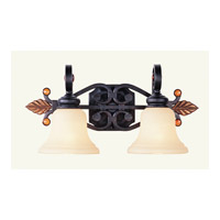 Livex Lighting Tuscany 2 Light Bath Light in Copper Bronze with Aged Gold Leaves 4412-56